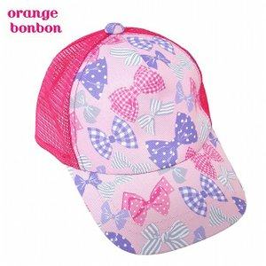 オレンジボンボン リボン柄 メッシュキャップ ピンク 50cm 52cm 54cm 56cm 女の子 帽子 日除け|egaoshop