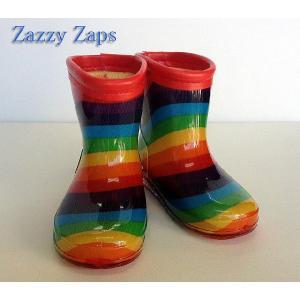 【ザジーザップス】ZAZZY ZAPS ボーダー柄レインシューズ レインンブーツ 長靴 レッド 14cm/15cm/16cm/17cm/18cm/19cm/20cm|egaoshop