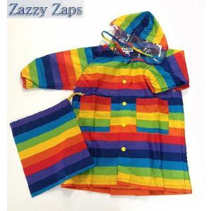 子供用レインコート 男の子 レインボー ボーダー レインコート レッド 100cm/110cm/120cm/130cm ザジーザップス ZAZZY ZAPS|egaoshop