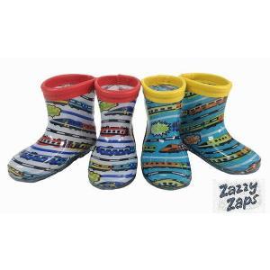 レインシューズ キッズ 電車柄レインシューズ 長靴 ザジーザップス ZAZZY ZAPS ホワイト ブルー 13cm 14cm 15cm 16cm 17cm 18cm 19cm 20cm 21cm|egaoshop