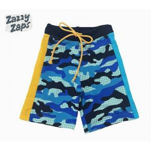 Zazzy Zaps ザジーザップス カモフラチェック スイムパンツ ブルー 80cm 90cm 95cm 100cm 110cm 120cm 130cm 140cm 1点のみネコポス発送OK!|egaoshop