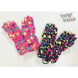キッズ手袋 リボン総柄手袋 オレンジボンボン orange bonbon ピンク ブラック Sサイズ Mサイズ 20%OFF!|egaoshop