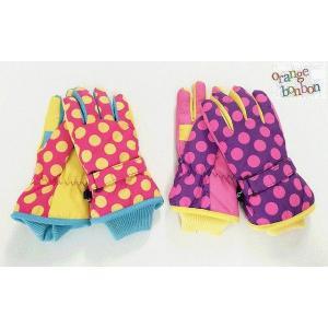 キッズ手袋 ドット柄手袋 オレンジボンボン orange bonbon ピンク パープル Sサイズ Mサイズ 20%OFF!|egaoshop