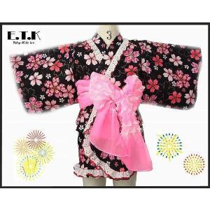 78fc874e8f966 浴衣 女の子 E.T.K 日本製 キラキラ桜柄セパレートサンドレス浴衣3点セット ブラック 80cm 90cm 95cm 100cm  110cm 120cm