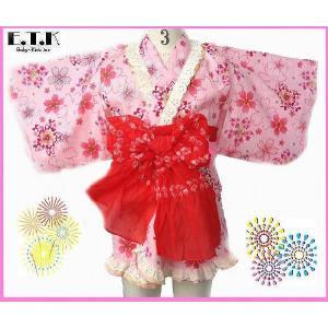 0cdb3dc5d4ac3 浴衣 女の子 E.T.K 日本製 キラキラ桜柄セパレートサンドレス浴衣3点セット ピンク 80cm 90cm 95cm 100cm  110cm 120cm