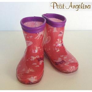 【プチ アンジェリーナ】Petit Angelina 森の動物柄レインシューズ レインブーツ 長靴 ピンク 14cm/15cm/16cm/17cm/18cm/19cm/20cm egaoshop