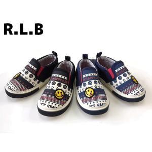 キッズスニーカー 子供靴 スマイリー スリッポン シューズ ブラック ネイビー 14cm 15cm 16cm 17cm 18cm R42301-77 R.L.B|egaoshop
