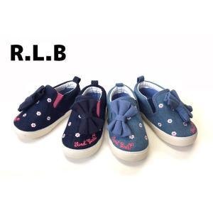 キッズスニーカー 子供靴 リボン スリッポン シューズ ブルー ライトブルー 14cm 15cm 16cm 17cm 18cm R42305-77 R.L.B|egaoshop