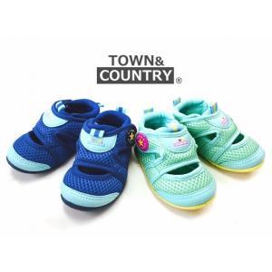 town&country メッシュサンダル ブルー グリーン 13cm 14cm 15cm キッズサンダル ベビーサンダル 男の子 女の子|egaoshop
