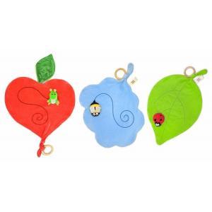 アップルパーク パペットブランケット 指人形 ブランケット パペット みつばち(ブルー) あおむし(レッド) てんとうむし(グリーン)|egaoshop