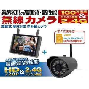 ワイヤレス〔無線〕防犯カメラと9インチモニター(SDカードレコーダー内蔵)のセットTTC-NO1|egawa