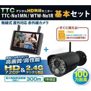 ワイヤレス〔無線/〕防犯カメラと9インチモニター(SDカードレコーダー内蔵)のセットTTC-NO1R|egawa