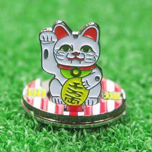 おもしろゴルフマーカー 招き猫 フリップアップマーカー(メール便対応可) (ゴルフ マーカー ボールマーカー おもしろグッズ)|egolf