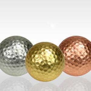 金・銀・銅箔ゴルフボール メダリスト3個セット(海外 お土産 golf balls 箔一 ホールインワン)|egolf