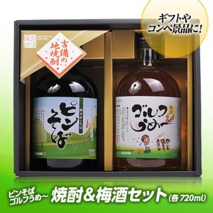 【ギフトセット】 梅酒ゴルフうめ〜&本格焼酎ピンそば 720ml 各1本(おもしろ ゴルフ お酒)|egolf
