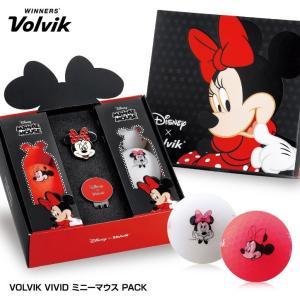 ボルビック VOLVIK Minnie Vivid ミニーマウス ゴルフボールギフト(ゴルフボール6個・クリップマーカー)(ディズニー キャラクター)|egolf