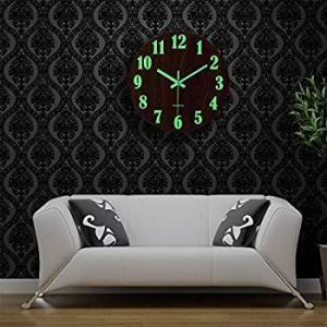 壁掛け時計 木製 サイレント 連続秒針 夜光 大文字 アナログ クロック 掛け時計 インテリア eh-style