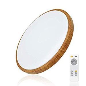 改良版LEDシーリングライト 35W 調光調色 リモコン付き 薄型 木目調 6?8畳 丸型 おしゃれ 簡単取付 和風 天井照明 部屋 eh-style