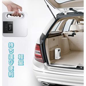 車用空気入れ エアコンプレッサー DC12V シガーソケット接続式 電動空気入れ オートストップ 電動ポンプ コンパクト 静音 LEDライト