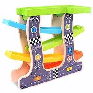 改良版くるくるスロープ 木製スロープ 滑空車 4台セット ミニコースター 4つ軌道 駐車場付き Bajoy 大人も子供も楽しめる知育玩具 ル eh-style