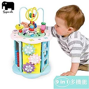 ビーズコースター ルーピング super-ele 9in1 おもちゃ アクティビティキューブ 迷路 型はめ 子ども 知育玩具 木製 マルチプ eh-style