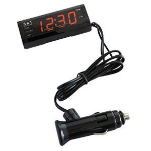 カシムラ マルチクロック 時計+電圧計+温度計 NAK-195|eh-style