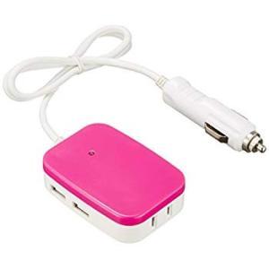 メルテック モバイルタップインバーター(ピンク) 2way(USB&コンセント) DC12V コンセント1口30W USB2口2.1A Me|eh-style