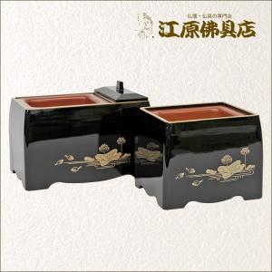 お焼香用 廻し香炉 5寸(黒・蓮・フチ金) 家具調仏具 モダン仏具|eharabutsugu