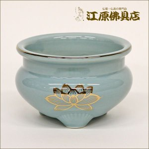青磁 金蓮 線香立 2.0寸 仏具|eharabutsugu