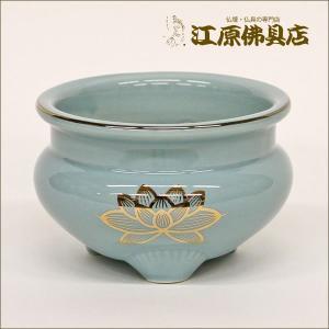 青磁 金蓮 線香立 3.0寸 仏具|eharabutsugu