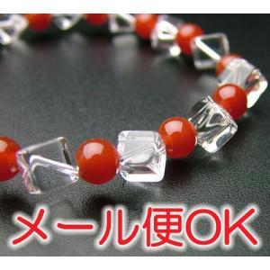 『ゆうパケットOK』キューブ珠 水晶瑪瑙仕立 腕輪 ブレス パワーストーン|eharabutsugu