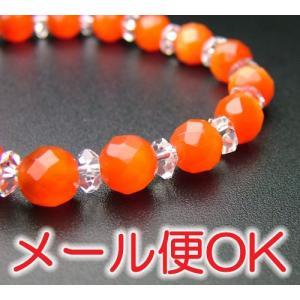 『ゆうパケットOK』切子珠 オパールキャッツアイ(オレンジ) 腕輪 ブレス パワーストーン|eharabutsugu