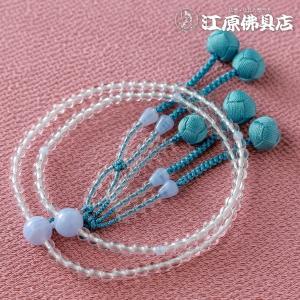 日蓮宗 女性用 本水晶 カルセドニー仕立 8寸 数珠 念珠 本式念珠|eharabutsugu