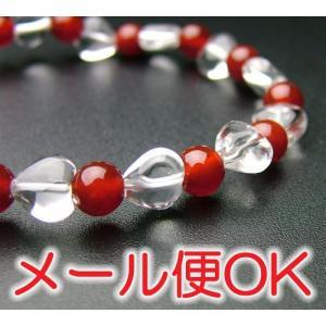『ゆうパケットOK』ハート珠 水晶瑪瑙仕立 腕輪 ブレス パワーストーン|eharabutsugu