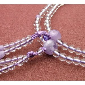 真言宗 女性用 本水晶 藤雲石仕立 8寸 数珠 念珠 本式念珠|eharabutsugu