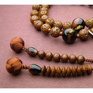 浄土宗 男性用 金剛菩提樹 赤虎目石仕立(銀輪入) 数珠 念珠 本式念珠|eharabutsugu
