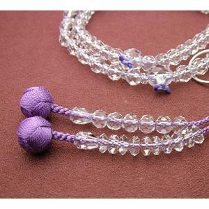 浄土宗 女性用 本水晶切子 共仕立 8寸(銀輪入) 数珠 念珠 本式念珠|eharabutsugu