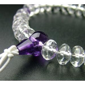 SSカット 本水晶紫水晶仕立(9×6mm) 腕輪 ブレス パワーストーン|eharabutsugu