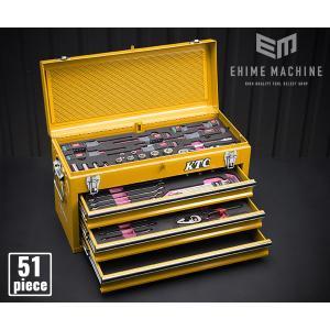 在庫有 KTC 9.5sq. 51点工具セットSK35119XY(豪華特典付)イエロー 新設計トレイ採用ツールセット|ehimemachine