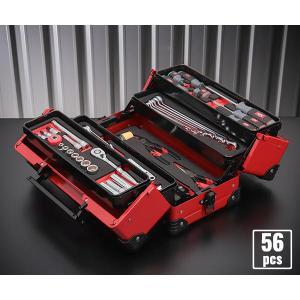 在庫有 KTC 9.5sq. 56点工具セット SK35619WZR(豪華特典付)レッド スタンダードツールセット|ehimemachine
