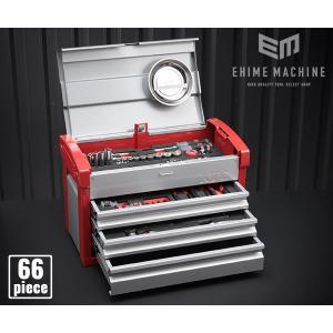 在庫有 KTC 9.5sq. 66点工具セットSK36619E(豪華特典付)シルバー×レッド  スタンダードツールセット|ehimemachine