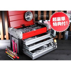 在庫有 KTC 工具セット 6.3sq./9.5sq. 93点ツールセット シルバー×レッド×ブラック (豪華特典付) SK59318EZ|ehimemachine