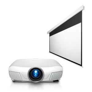 『45000円』お得セット【エプソン 4K・HDR・ワイヤレス プロジェクター & OS 120型・電動スクリーン】EH-TW8300W と SEP-120HM-MRK(W)3-WG 黒(白)パネル|ehome