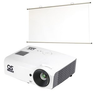 【OSブランド】XGA DLPプロジェクター/77インチ 掛図スクリーンセット LUXOS ルクソス LP-300XG1S1(1024×768/3D対応/3000ルーメン/HDMI)|ehome