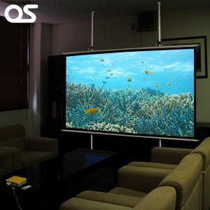 【120インチ プロジェクタースクリーン/取付ポールセット】「OS 掛図 スクリーン SMH-120HM(マスク付)」と「ポールS-P3」|ehome