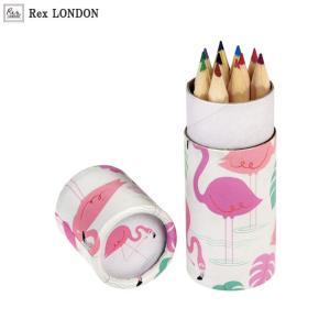 可愛い 色鉛筆/フラミンゴ(FLAMINGO) 12色 ポップで華やかなデザインが女の子らしい ロンドン生まれ Rex LONDON|ehon-netcom