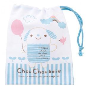 コットン巾着バッグ・シュシュエル(Blue) 巾着袋 巾着 入園 誕生日 お祝い 記念日 ぬいぐるみ キャラクター|ehon-netcom