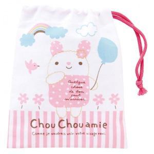 コットン巾着バッグ・シュシュフル(Pink) 巾着袋 巾着 入園 誕生日 お祝い 記念日 ぬいぐるみ キャラクター|ehon-netcom