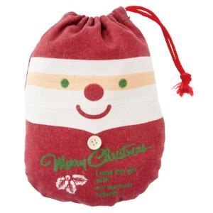 クリスマスカントリーサンタ巾着バッグ-M クリスマス カントリー サンタ 巾着バッグ ハンドメイド布巾着 キャラクター|ehon-netcom