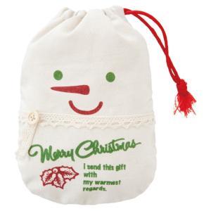 クリスマスカントリー雪だるま巾着バッグ-M クリスマス カントリー 雪だるま 巾着バッグ ハンドメイド布巾着 キャラクター|ehon-netcom